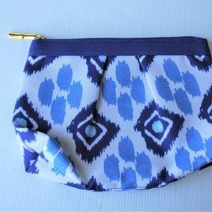 Estee Lauder Cosmetic Bag Blue White Zip Closure